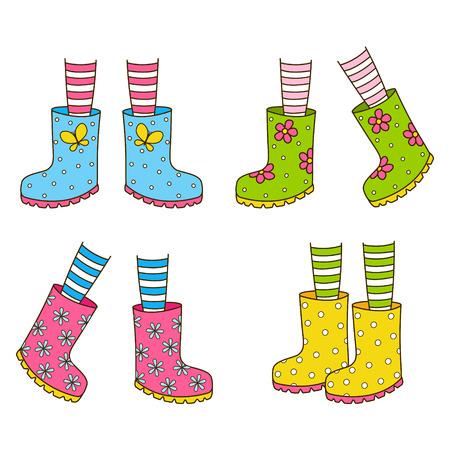 Set of color rubber boots Vetores