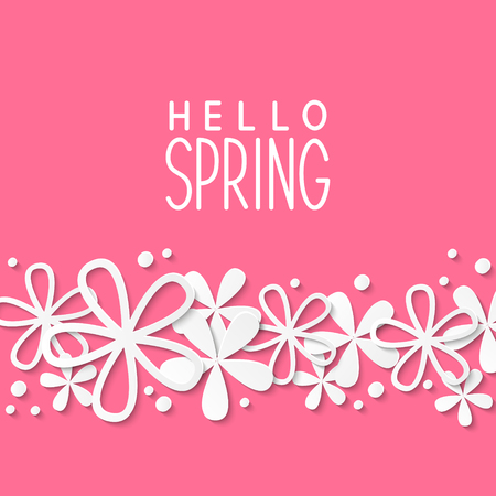 paper background: Paper flowers on pink background Illustration