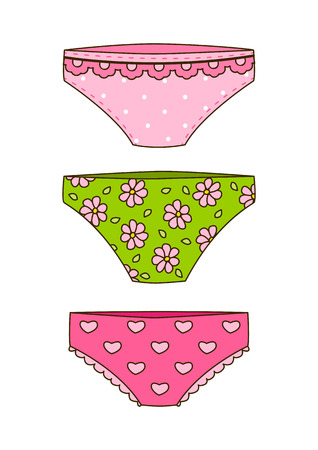 female pink: Set of cute color panties Illustration