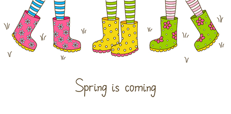 gumboots: Spring banner with color rubber boots Illustration