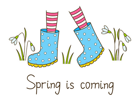 rubber boots: Spring greeting card with color rubber boots Illustration