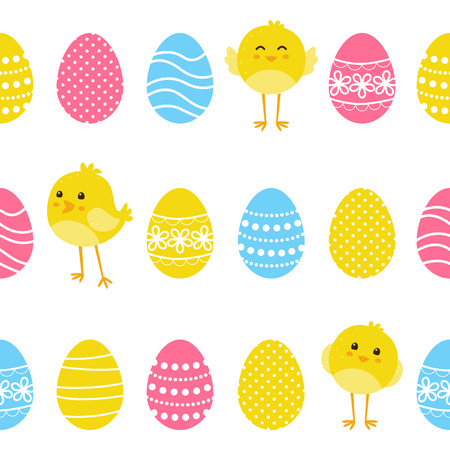 Seamless pattern with chickens and eggs