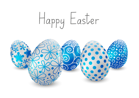 파란색과 흰색 패턴으로 부활절 달걀