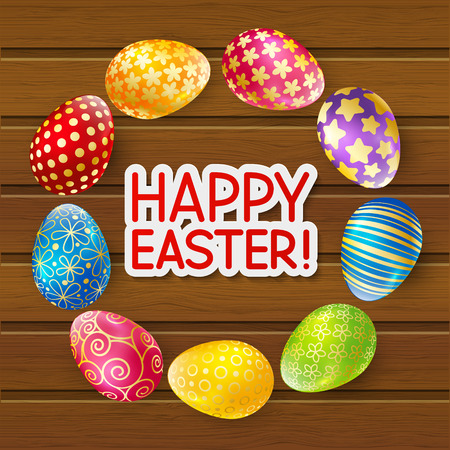 wooden circle: Easter eggs on wooden background