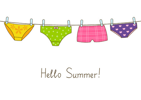 Cute color panties on clothesline Illustration