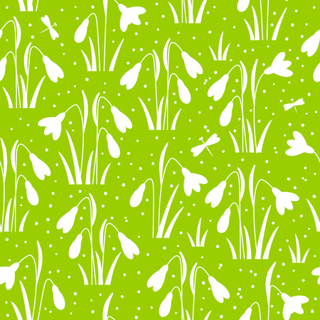 snowdrops: Seamless pattern with spring snowdrops Illustration