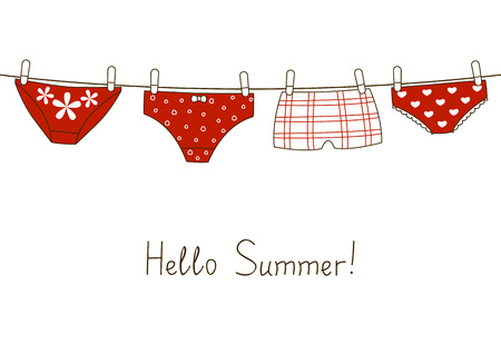 Red panties: Cute red panties on clothesline