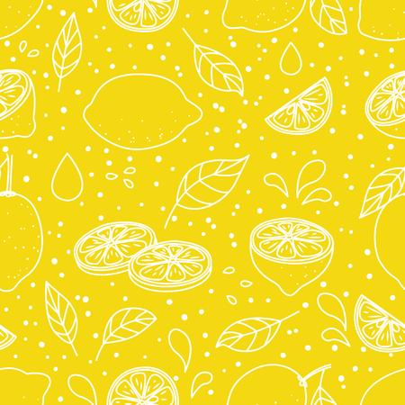 Seamless pattern with juicy lemons