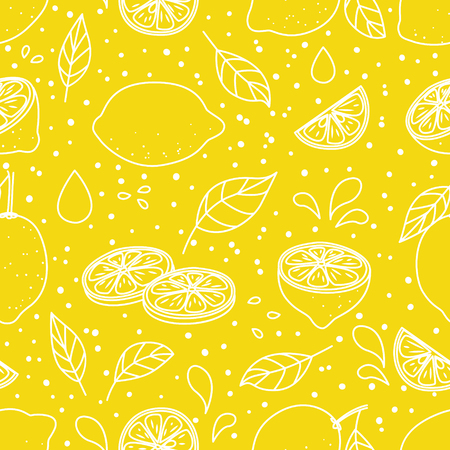 Seamless pattern with juicy lemons