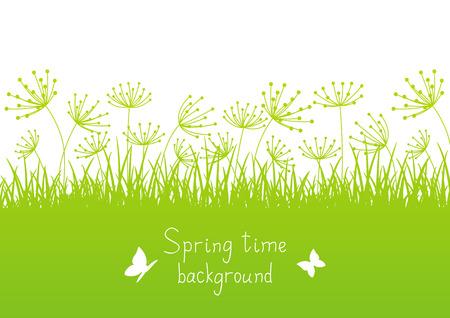 Frühling Hintergrund mit Gras Silhouetten
