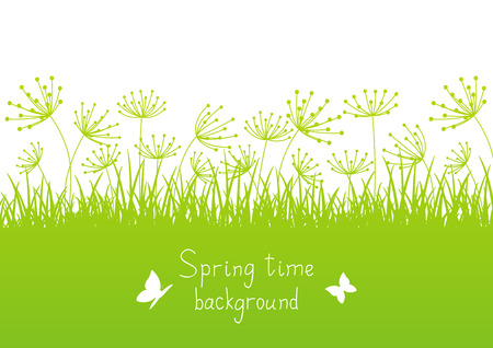 Spring background with grass silhouettes Illustration