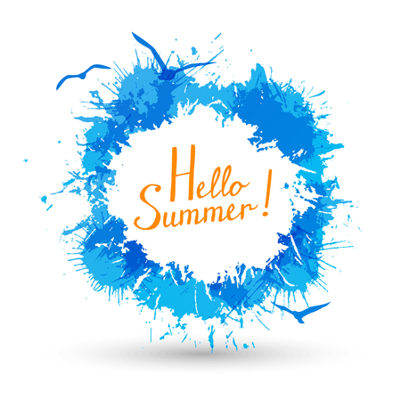 Summer background with paint splashes Ilustração