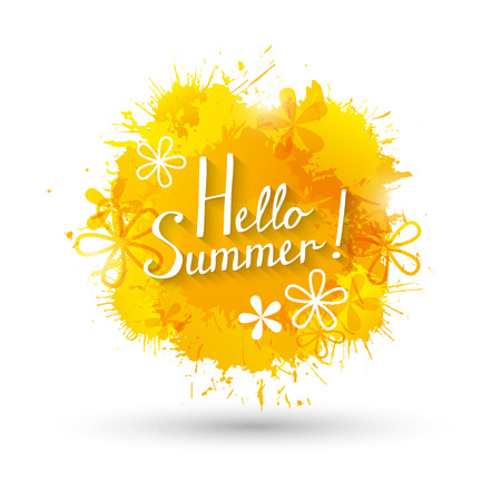 yellow paint: Summer background with yellow paint splashes