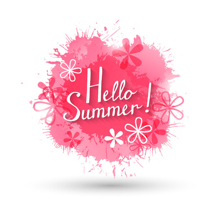 pink paint: Summer background with pink paint splashes