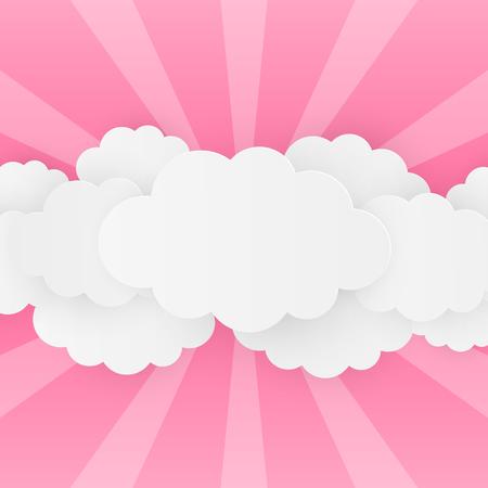nuages ??de papier sur fond rose