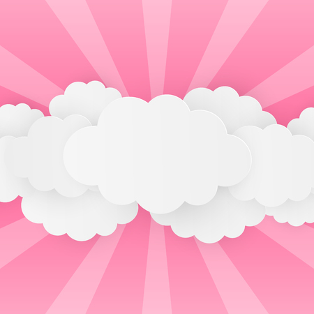 Paper clouds on pink background