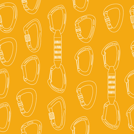Seamless pattern with climbing carabiners Illustration