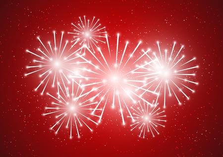 shiny background: Shiny fireworks on red background