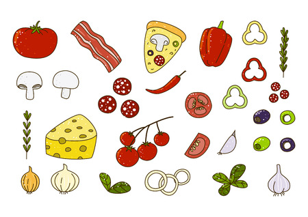 isolated ingredient: Set of pizza ingredients for Your design