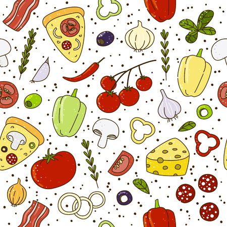 onion slice: Seamless pattern with pizza ingrediends