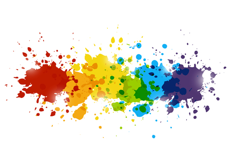Rainbow paint splashes for Your design