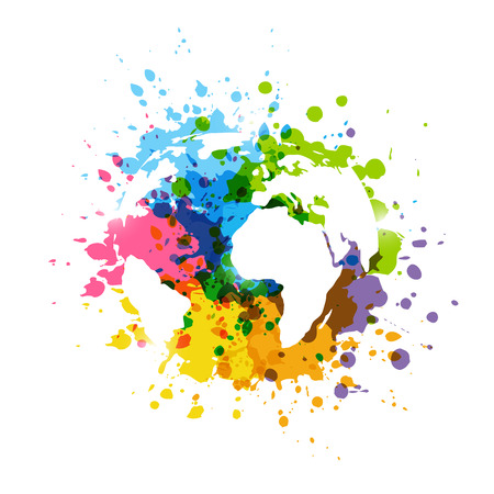 Rainbow paint splashes with map silhouette Stock Illustratie