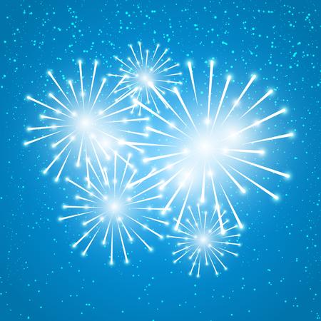 shiny background: Shiny fireworks on blue background