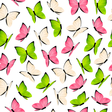 insect flies: Seamless pattern with color butterflies Illustration