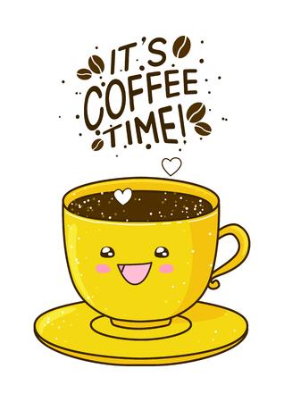 tasse mignonne de café isolé sur blanc