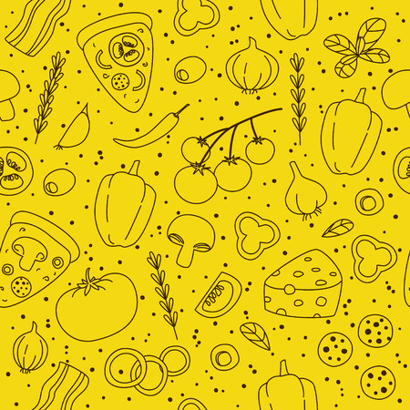 pizza ingredients: Seamless pattern with pizza ingredients