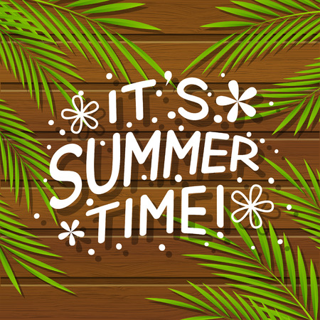 jetty: Summer lettering on wooden background