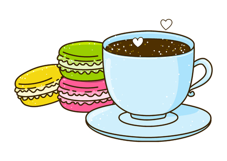 cup of coffee: Cute cup of coffee with macarons