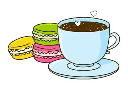tasse mignonne de café avec des macarons