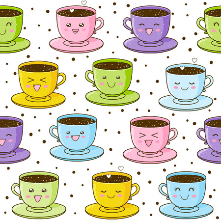 smiling faces: Seamless pattern with cute cups