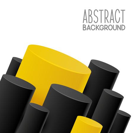 amarillo y negro: Resumen de fondo con cilindros de color amarillo y negro
