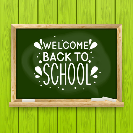 studying classroom: School greeting card with chalkboard