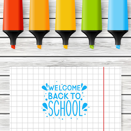 markers: School greeting card with color markers
