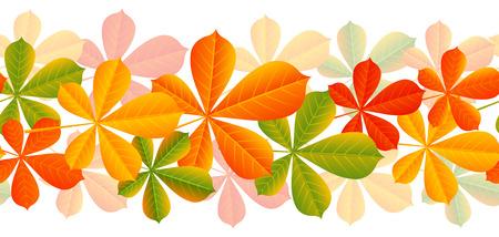 orange trees: Autumn leaves seamless border for Your design Illustration