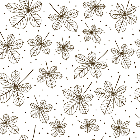 chestnut: Seamless pattern with autumn chestnut leaves Illustration