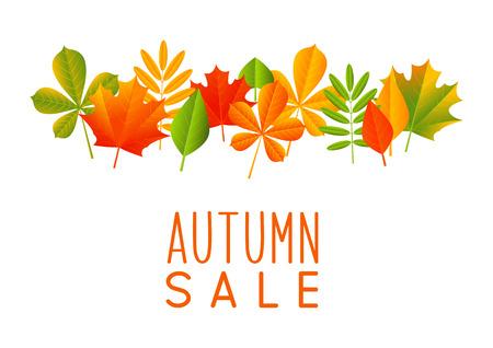 autumn color: Autumn sale concept with color leaves Illustration
