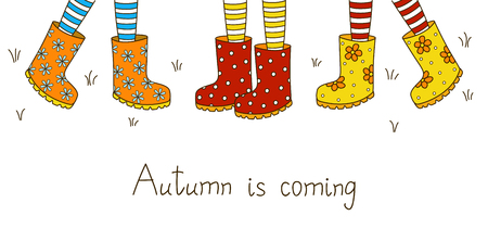 rubber boots: Autumn banner with color rubber boots