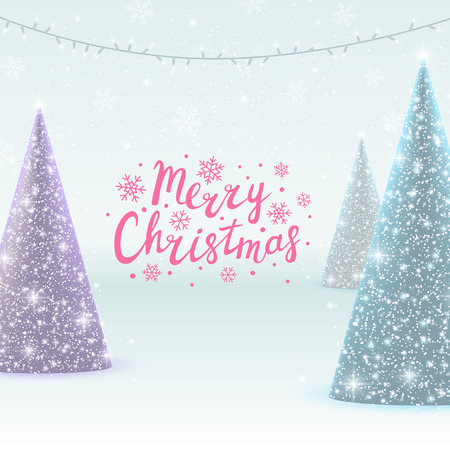 christmas trees: Greeting card with Christmas trees