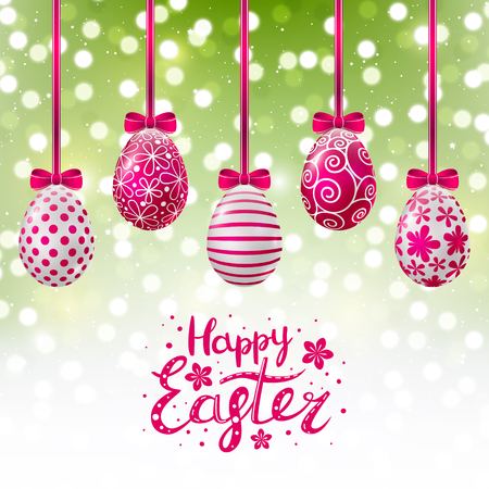 Pink Easter eggs on shiny background