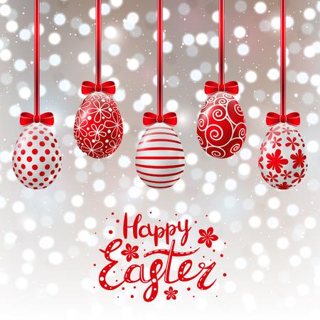 Red Easter eggs on shiny background Illustration
