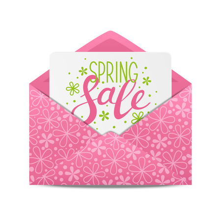 message: Spring sale message in envelope Illustration