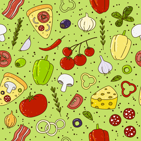 piece: Seamless pattern with pizza ingredients