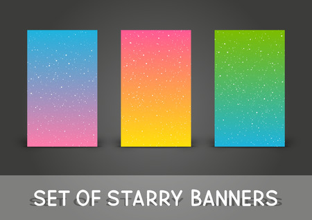Set of 240 x 400 vertical banners with starry ornate Illustration