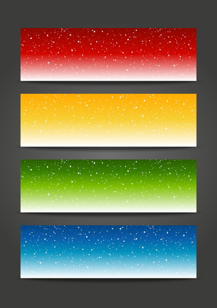 Set of 384 x 115 horizontal banners with starry ornate