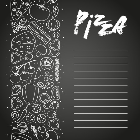 Pizza ingredients on chalkboard background