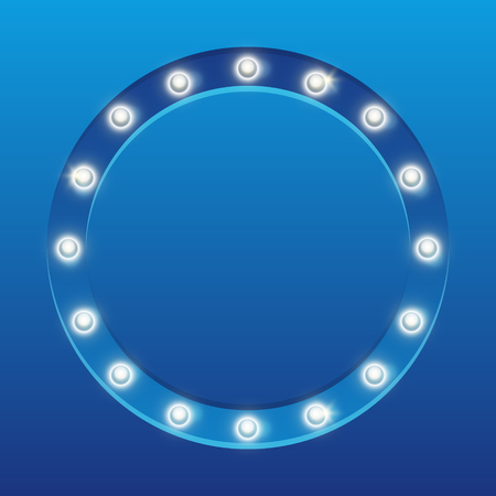 Round frame with shining light bulbs vector illustration. Illustration